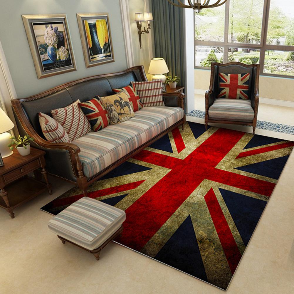 Modern National Flat Printing Carpet Mat for Living room Bedroom Bedside Vintage rice word flag_80*120cm