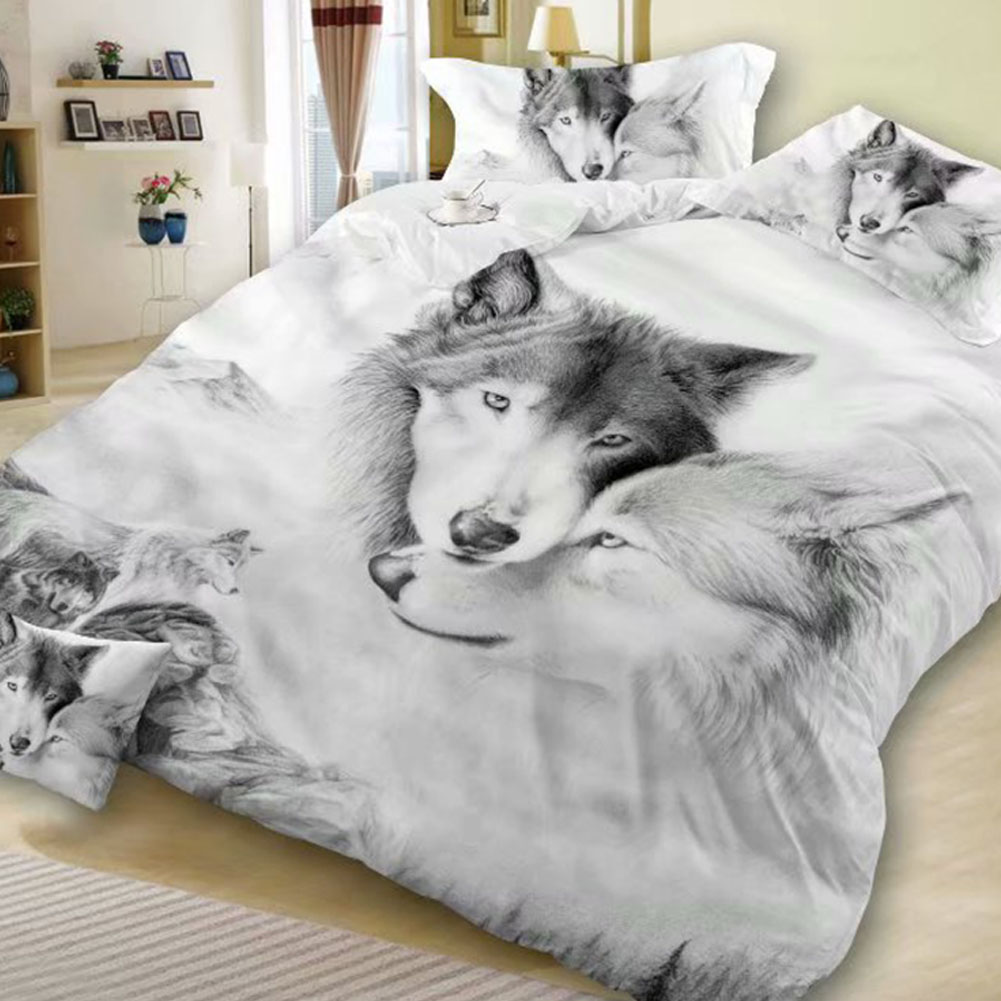 3D Double Wolf Printing Theme Bed Set