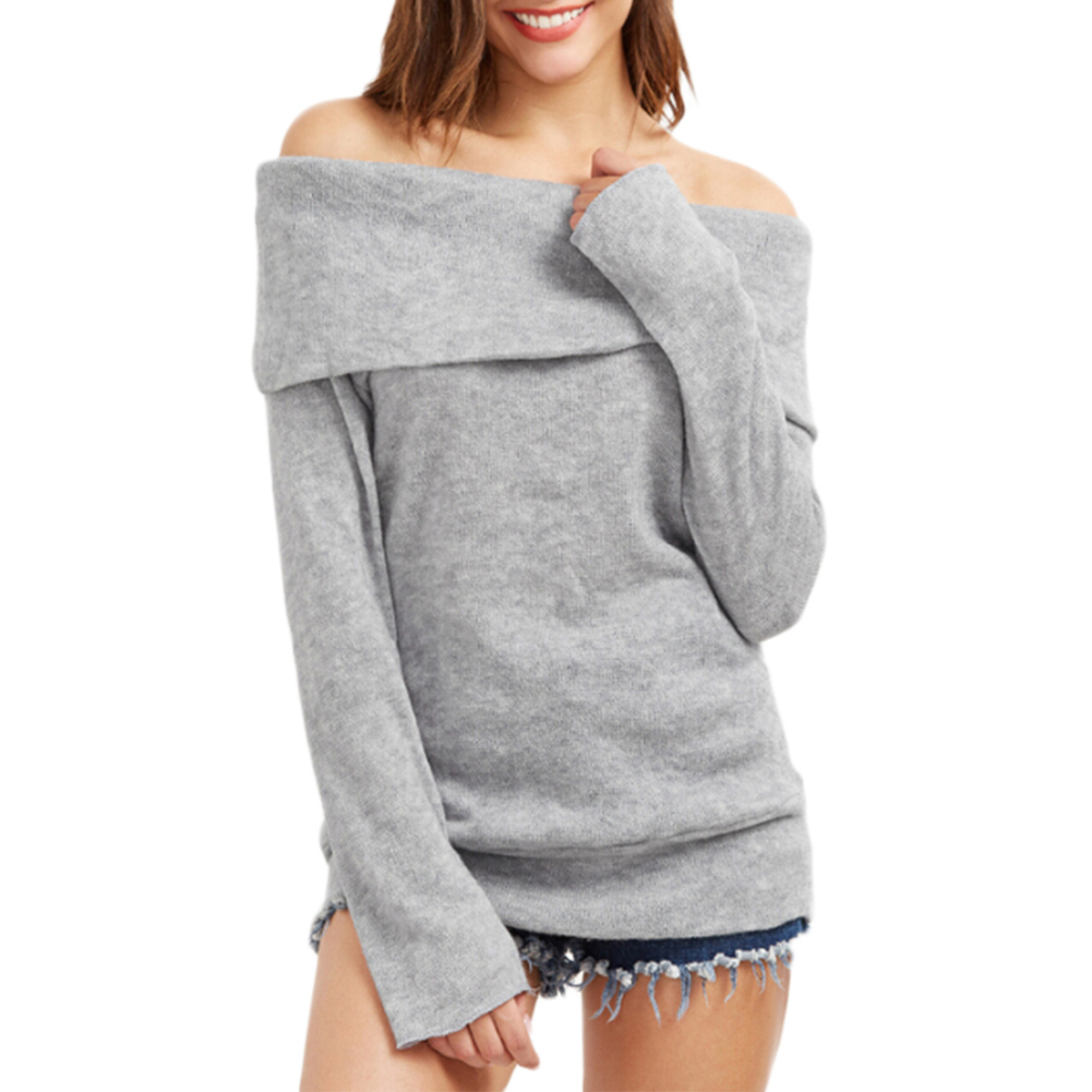 Women Casual Off-shoulder Sweater Fashionable Knitted Long Sleeve Pullover Top