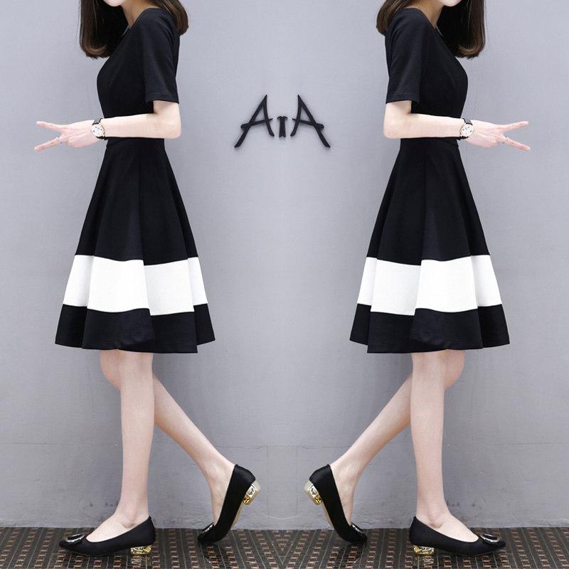 Women White Black Stripes Short Sleeve Thin A-line Dress Black and white stitching_L