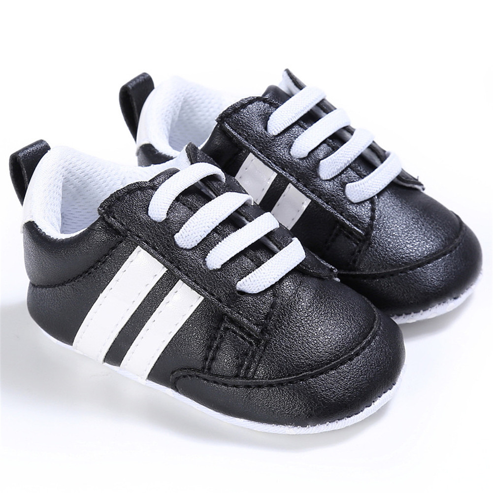 Baby Shoes Spring and Autumn Sports Soft-soled Toddler Shoes for 0-18M Babies Black white border_12