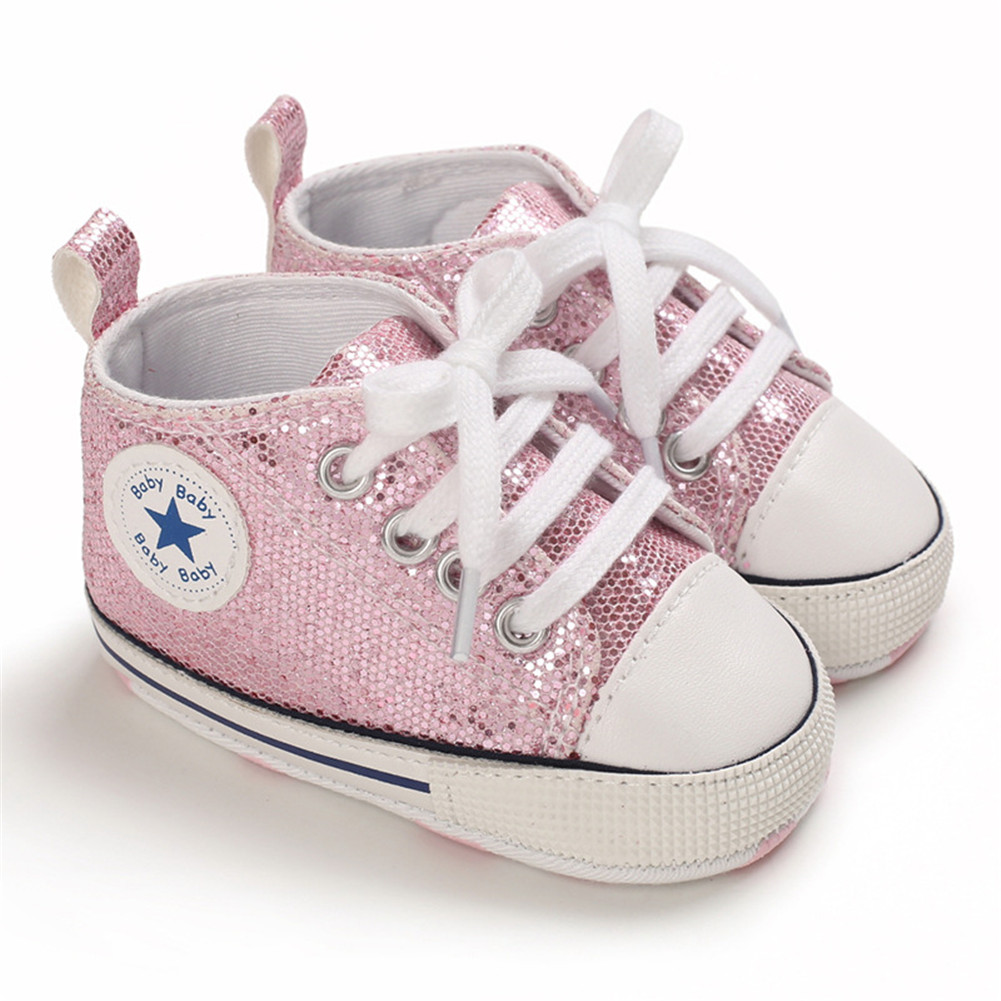 Baby Shoes Soft-soled with Sequin Toddler Shoes for 0-18m Babies Pink_Bottom length 12CM