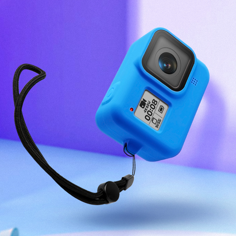 Silicone Protective Full Cover for GoPro Hero8 Camera with Lanyard Dust-proof Shell Case  blue