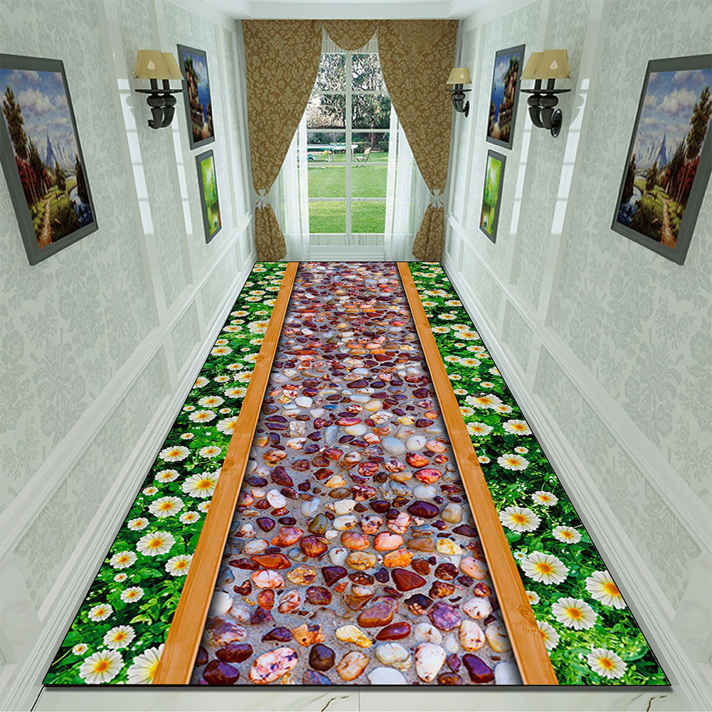 Green Rectangle Plant Printing Non Slip Mat for Bedroom Living Room Table Kitchen Corridor 12_80cm