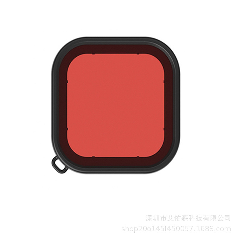 Waterproof Case Filter for GoPro Hero8 Camera Diving Screen Protective Film with Strap  red