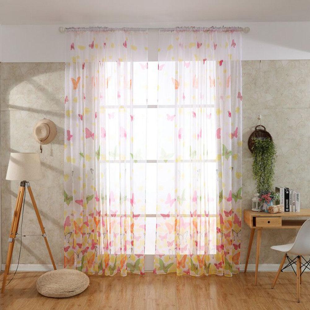 1PC Washable Trilon Butterflies Pattern Curtain for Living Room Door Window Decor