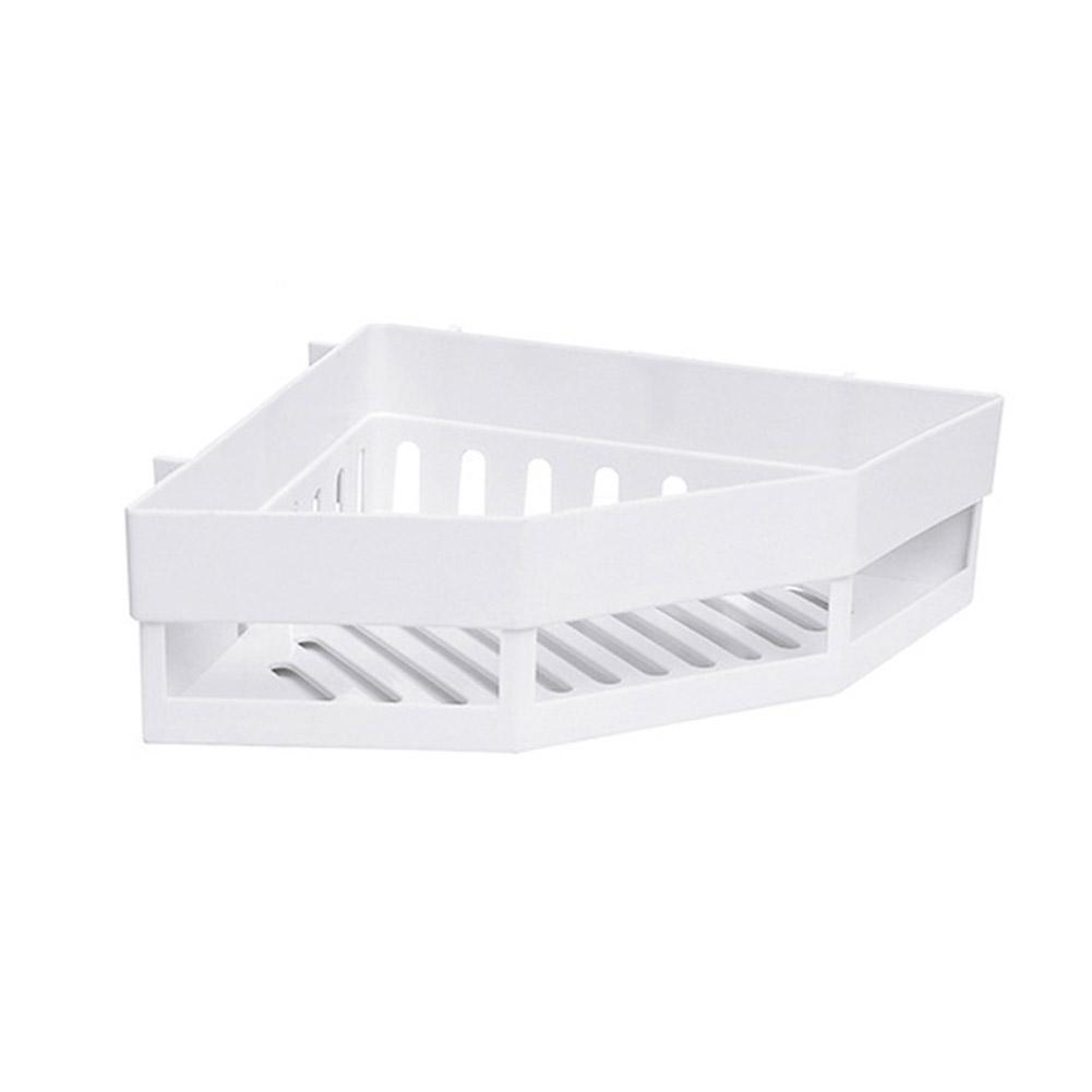 Triangular Nail-free Wall Mounted Bathroom Storage Rack  white