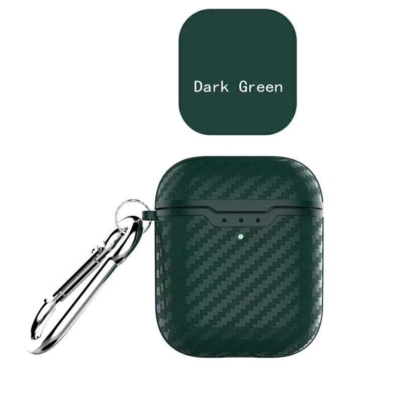 Earphone Case for Apple Airpods Travel Storage Cover Carbon Fiber Style Full Protective Case Anti-scratch green_Airpods case