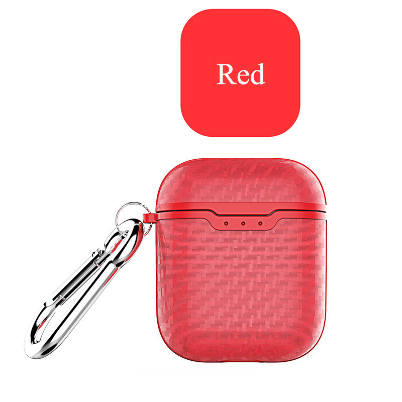 Earphone Case for Apple Airpods Travel Storage Cover Carbon Fiber Style Full Protective Case Anti-scratch red_Airpods case