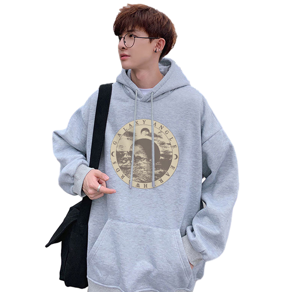 Couples Long-sleeved Hoodies Fashion Hip-hop printing pattern Loose Hooded Long Sleeve Top Gray _L