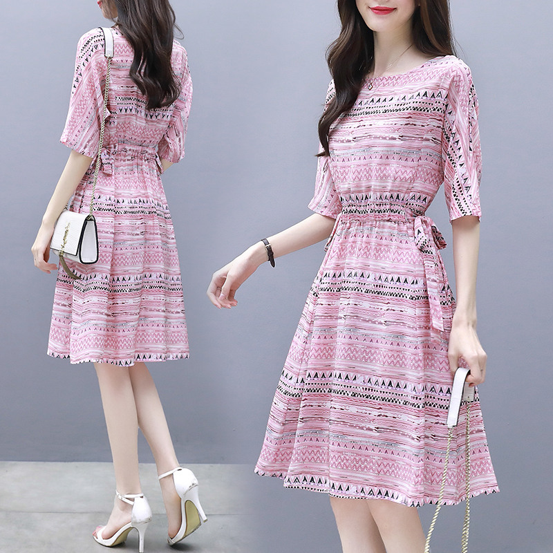 Summer Elegant A-line Ribbon Dress Boat Neck Thin Stripe Half Sleeves Casual Loose Dress Pink_M