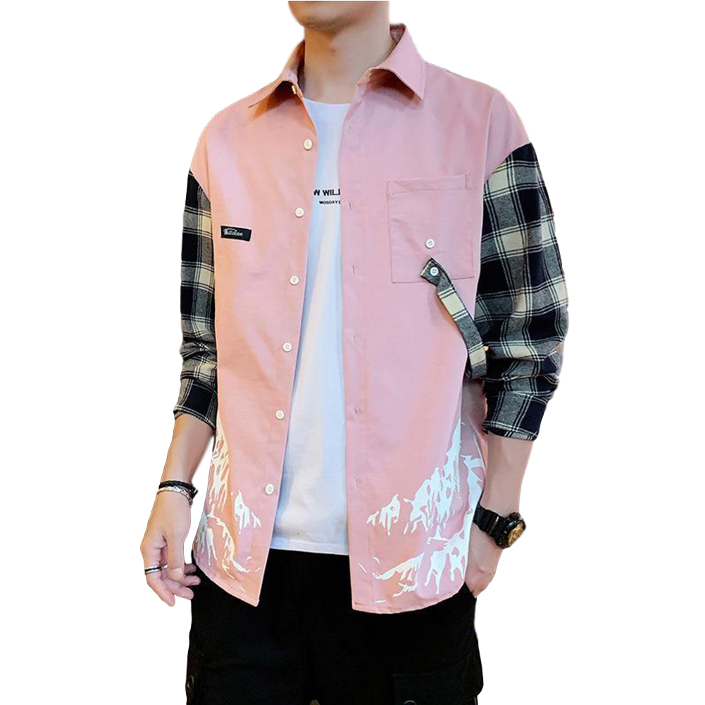 Men Plaid Printing Shirt Long Sleeve Autumn Teenagers Loose Blouse Pink_XL
