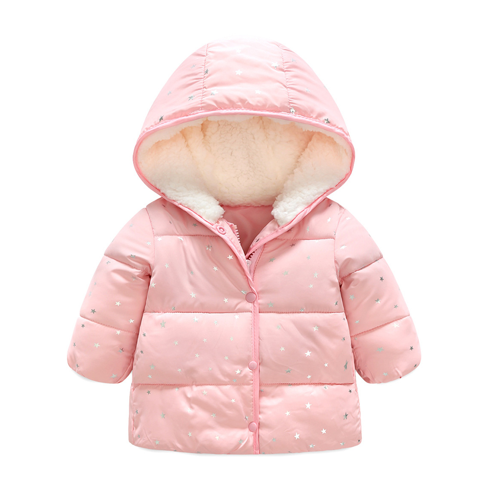 Boys Girls Stylish Thickened Cotton-padded Clothes with Velvet Hat Windproof Warm Wadded Jacket Short Coat for Winter Pink_90cm