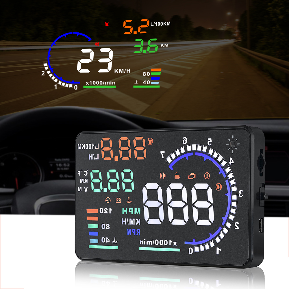 A8 Universal 5.5 Inch Car HUD Head Up Display OBDII Speed Warning Fuel Consumption Automobile Car Alarm System Black
