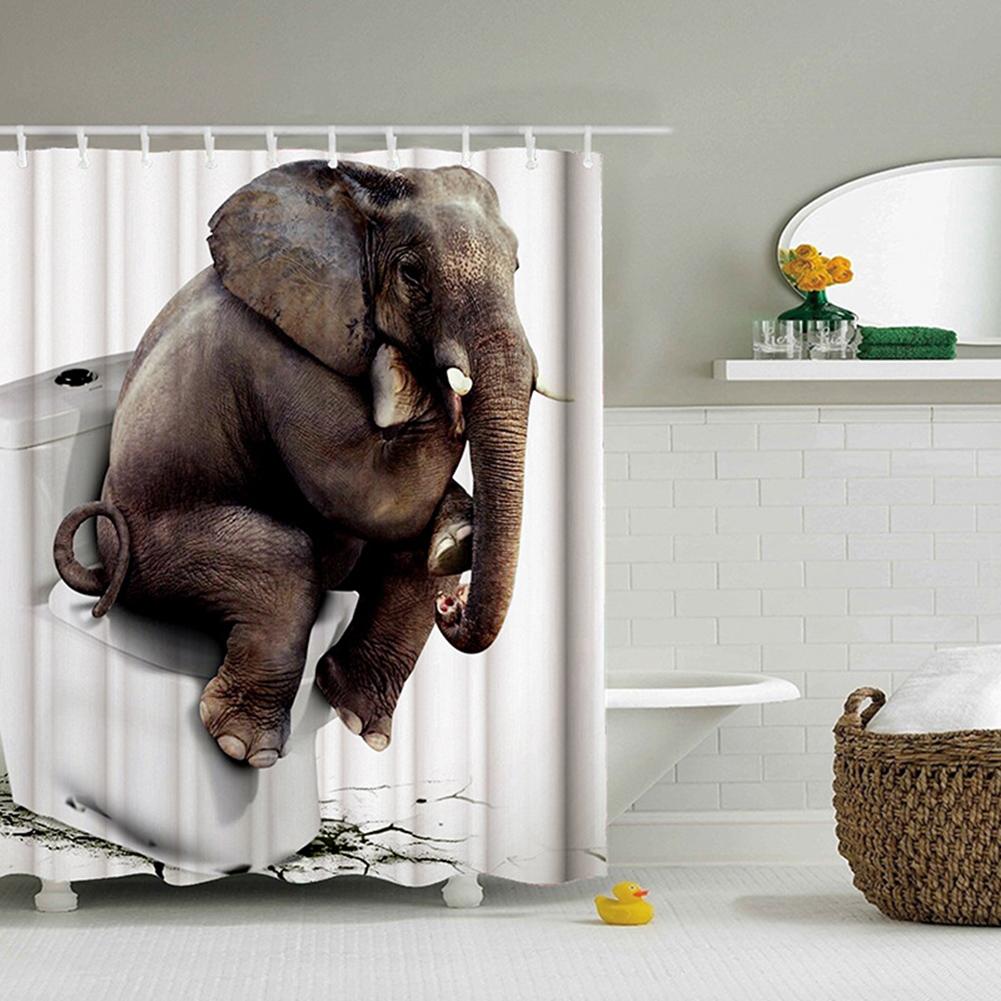 Elephant Theme Printing Shower  Curtain For Bathroom Bathtub Waterproof Curtain Toilet elephant_180*180cm