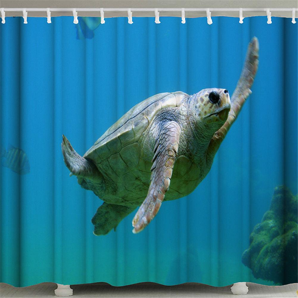 3d Printing Shower  Curtain Waterproof Bathroom Hanging Curtain Decoration Blue_180*180cm