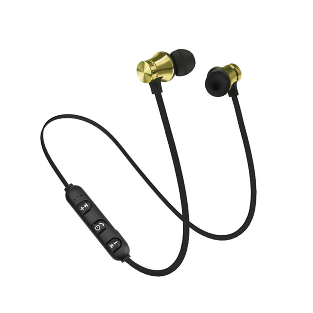XT11 Magnetic Bluetooth 4.2 Earphone Sport Running Wireless Neckband Headset Headphone with Mic Stereo Music for Android Gold