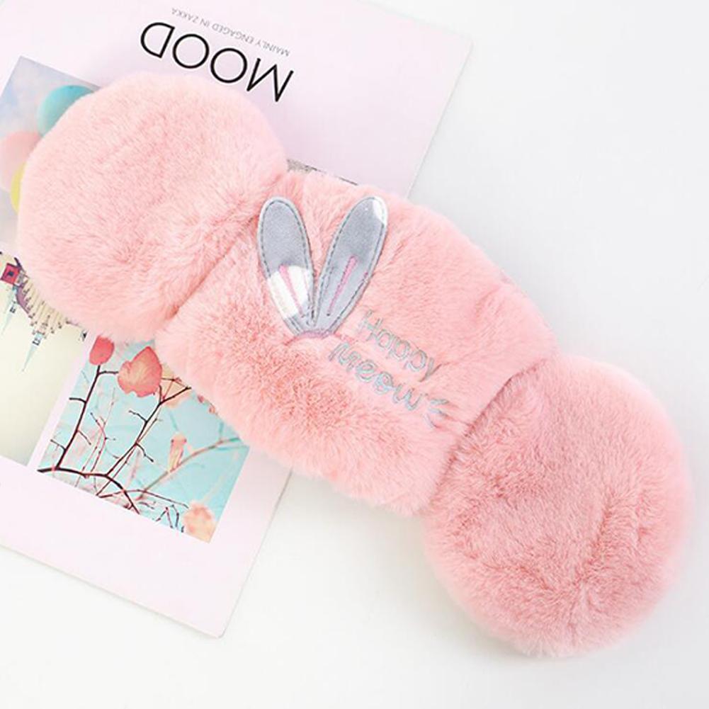 Women 2-in-1 Warm Mask Earmuffs Rabbit Ear Autumn Winter Thicken Plush Riding Outdoor Wear Rabbit ears pink