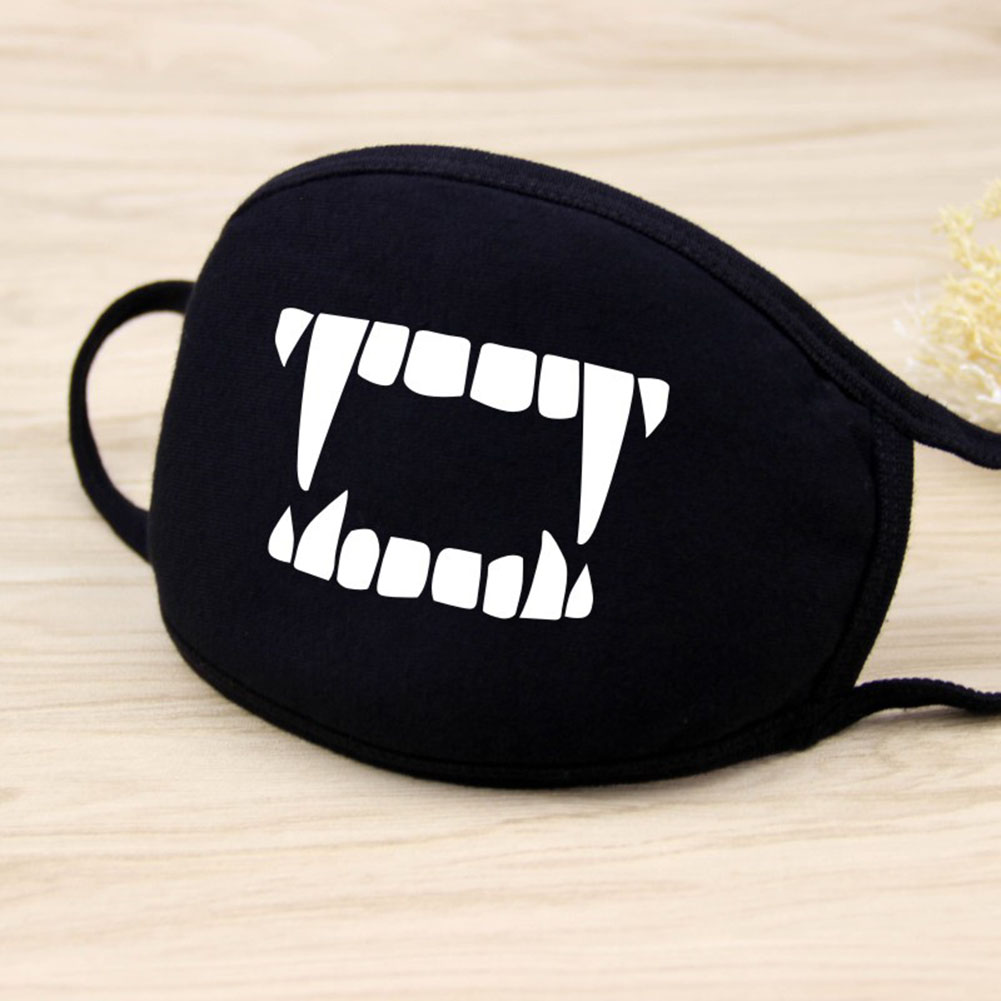 Men Women Riding Cotton Mask Dust-proof Fashion Black Facial Expression Teeth Warm Mask KZ-3031