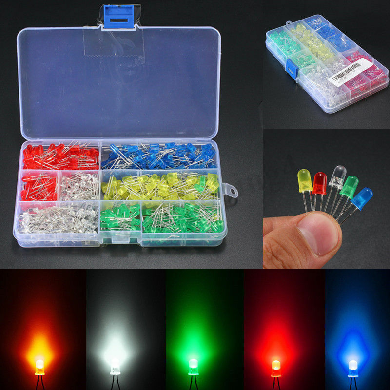 500Pcs 3mm LED Light White/Yellow/Red/Blue/Green Assortment Diodes DIY Kit  500 pcs/box