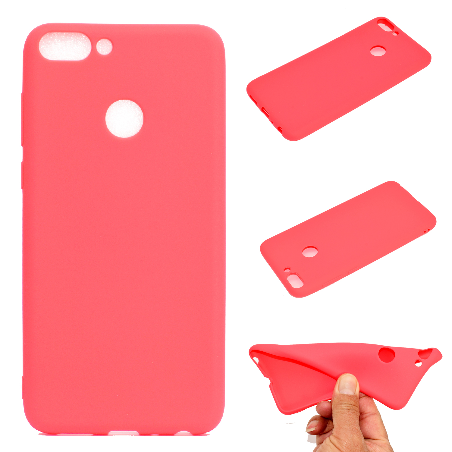 for HUAWEI Honor 9 lite Cute Candy Color Matte TPU Anti-scratch Non-slip Protective Cover Back Case red