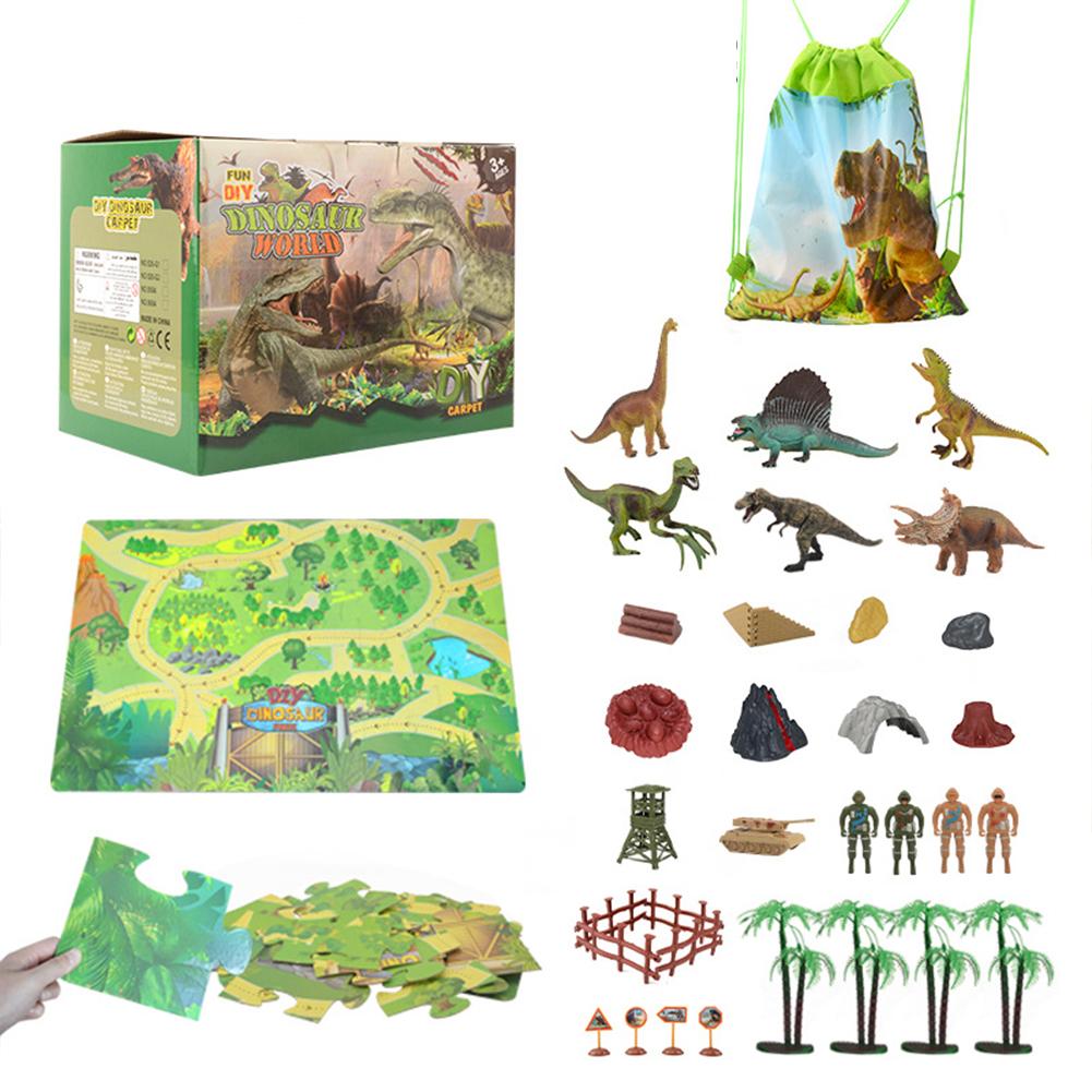 Dinosaur  Scene  Carpet  Storage  Puzzle  Set Learning Educational Toy For Kids Dinosaur Puzzle + Character Set 6 Dinosaurs