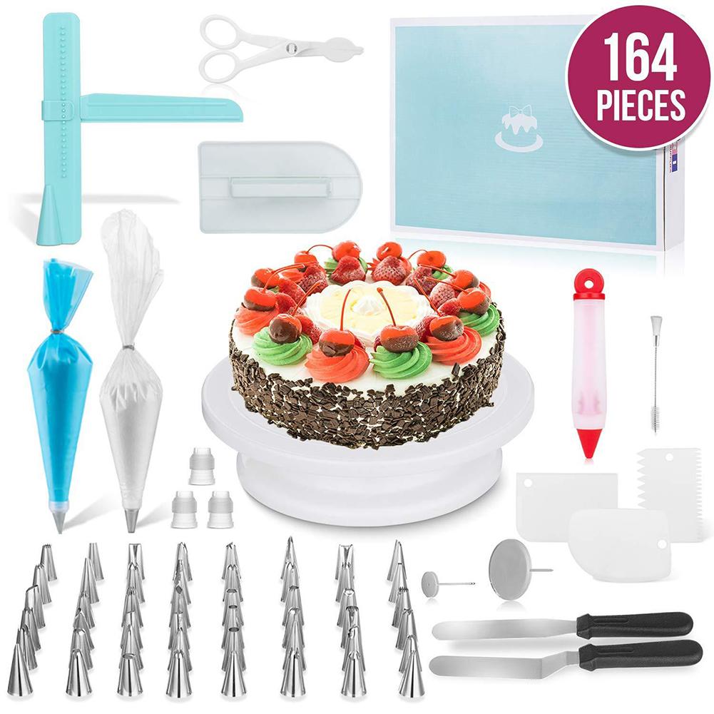 164Pcs/Set Cake Turntable Baking Tool Plastic Fondant Tool Kitchen Dessert Baking Pastry Supplies 164 pcs/set