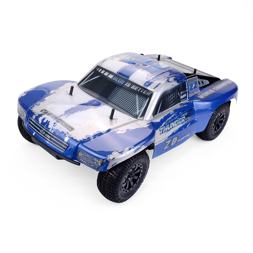 ZD Racing Thunder SC-10 1/10 2.4G 4WD 55Km/h RC Car Electric Electricless Brushless Short Course Vehicle RTR Blue and white