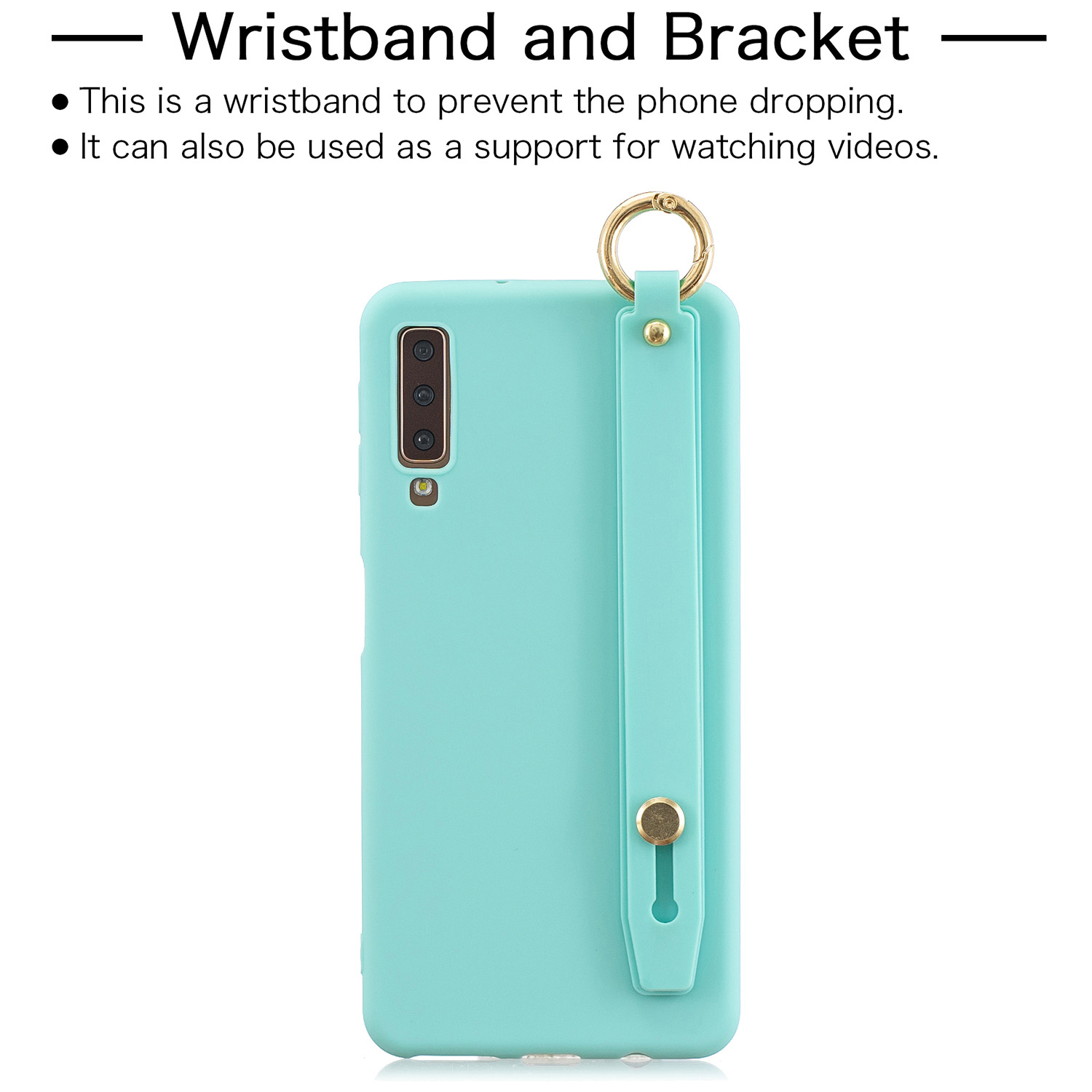 For Samsung A7 2018 Simple Solid Color Chic Wrist Rope Bracket Matte TPU Anti-scratch Non-slip Protective Cover Back Case 8 light blue