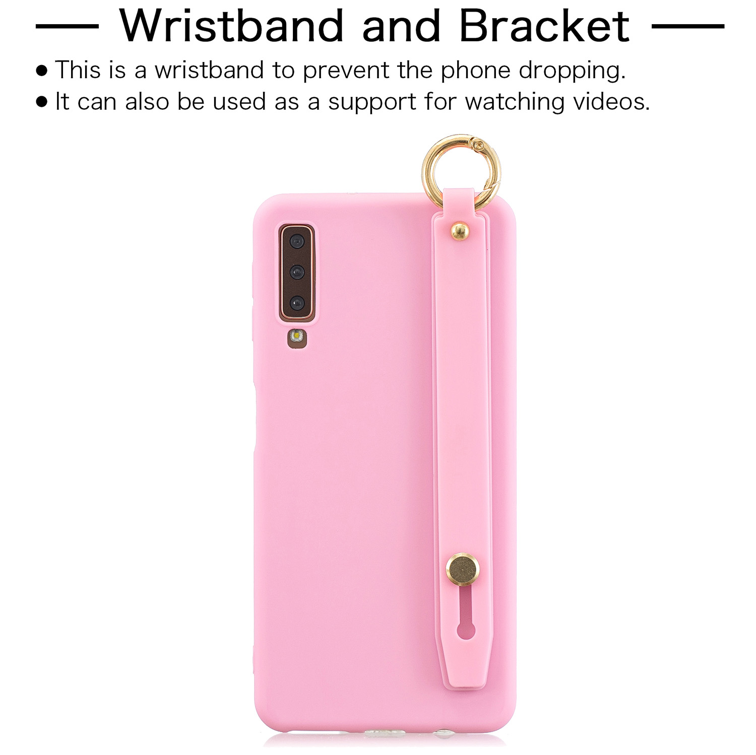 For Samsung A7 2018 Simple Solid Color Chic Wrist Rope Bracket Matte TPU Anti-scratch Non-slip Protective Cover Back Case 5 dark pink