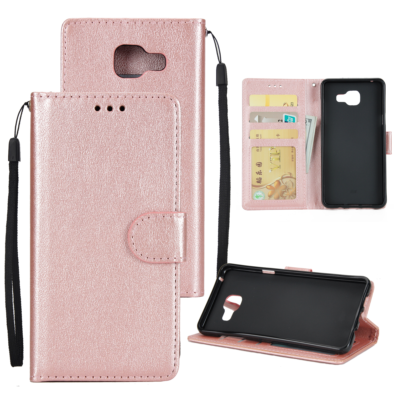 For Samsung On7-2016/J7 Prime Protective Cover PU Cell Phone Case with Card Slot Rose gold