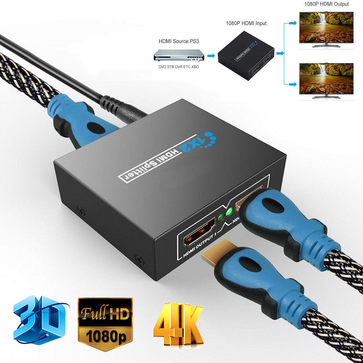 Full HD HDMI Splitter 1X2 Repeater Amplifier 3D 1080p 4K Switch Box 1 in 2 out black