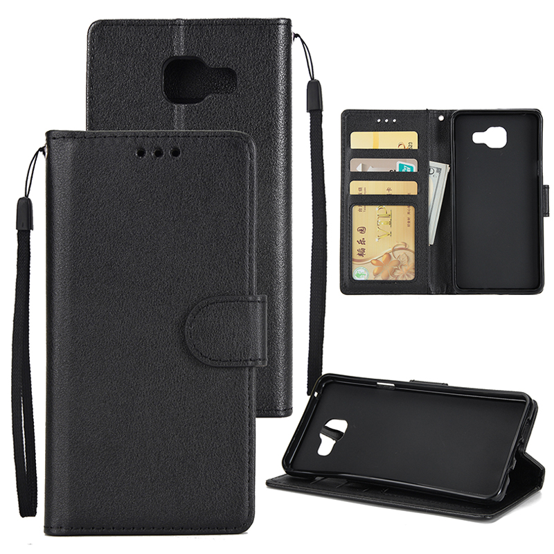 For Samsung On7-2016/J7 Prime Protective Cover PU Cell Phone Case with Card Slot black