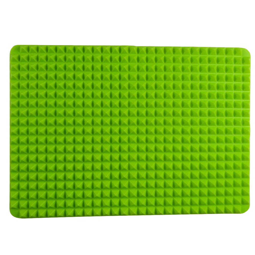 Multifunction High Temperature Resistant Pyramid Surface Silicone Baking Mat for Outdoor BBQ Green 27*39cm opp bag packaging