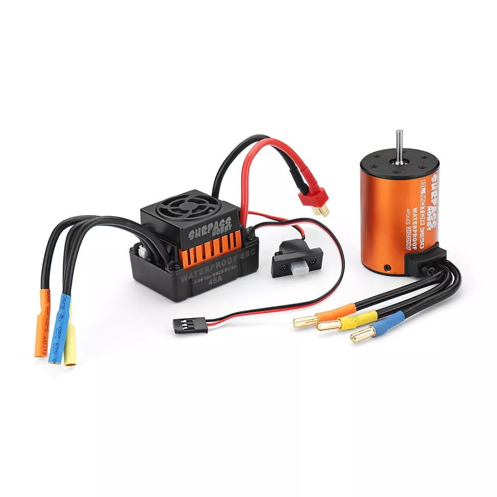 Surpass Hobby Waterproof 3650 3100KV Brushless Motor +45A ESC Combo Set for 1/10 Rc Car  Orange