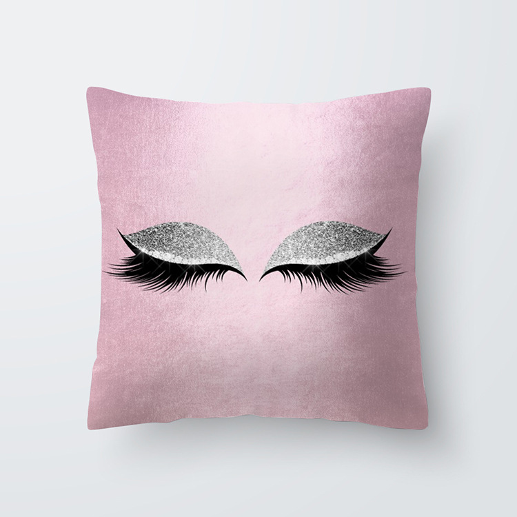 Eyelash Pattern Throw Pillow Cover for Living Room Sofa Sleeping Waist Support 26#_45*45cm
