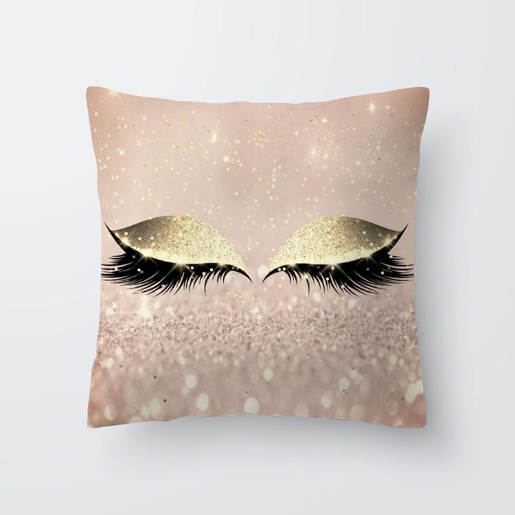 Eyelash Pattern Throw Pillow Cover for Living Room Sofa Sleeping Waist Support 17#_45*45cm