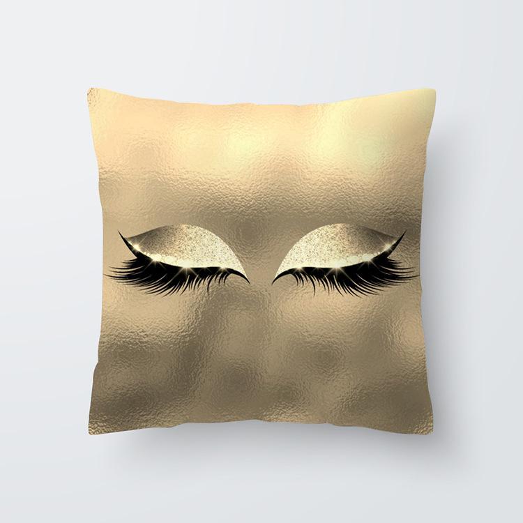 Eyelash Pattern Throw Pillow Cover for Living Room Sofa Sleeping Waist Support 30#_45*45cm