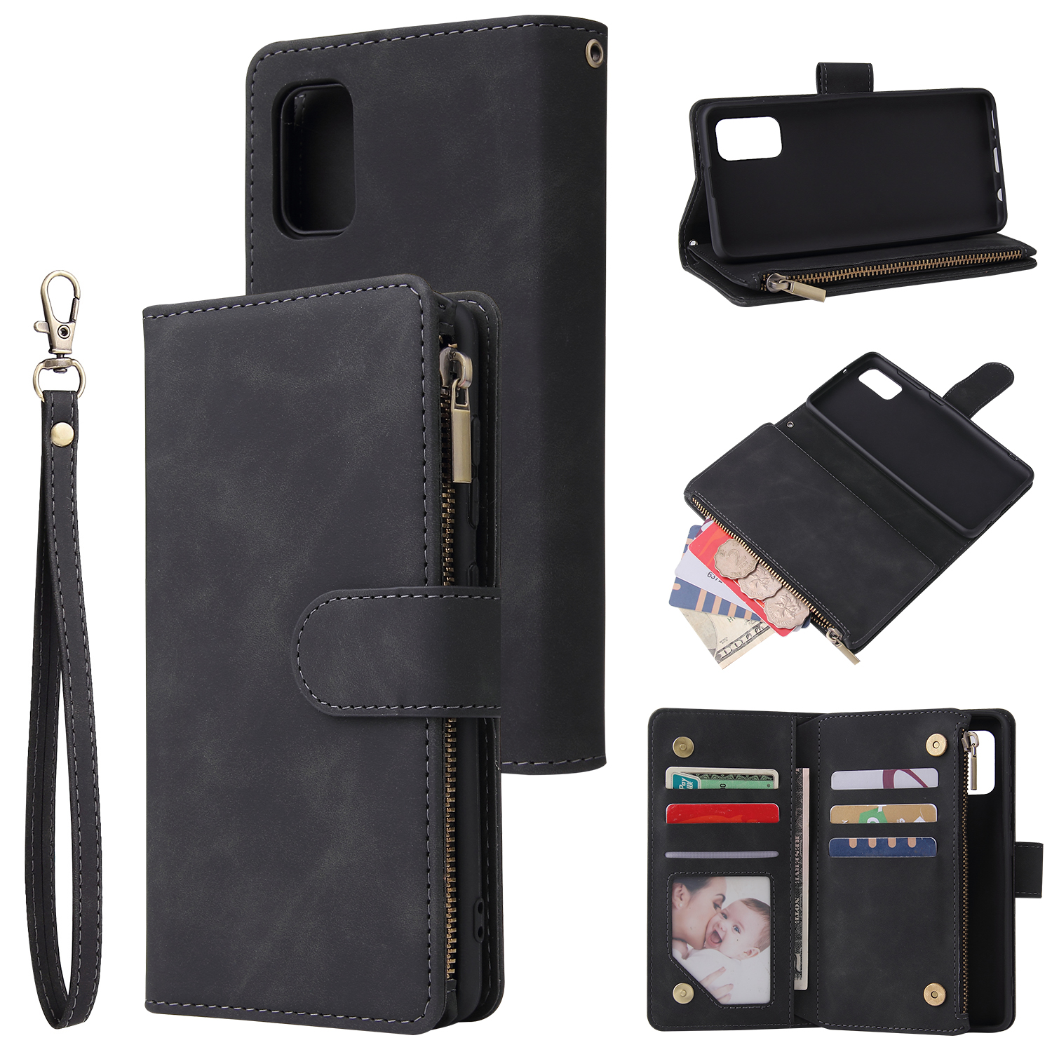 For Samsung A41 Mobile Phone Case Wallet Design Zipper Closure Overall Protection Cellphone Cover  1 black