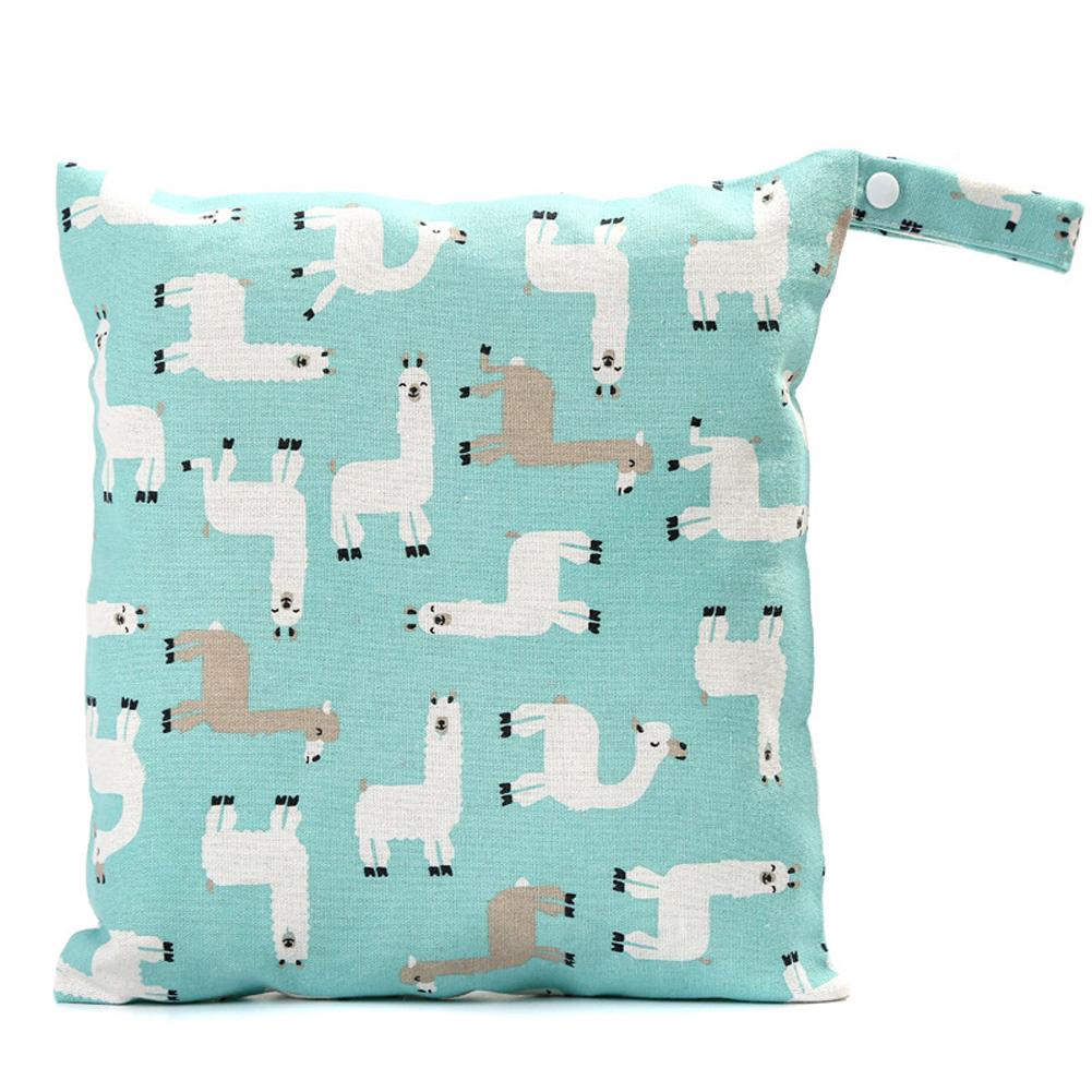 Reusable Printed Pocket Diaper Bag for Travel Sundries Toiletries Cosmetics Blue alpaca