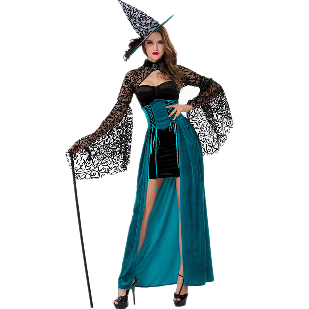 Adult Halloween Witch Costume for Women Sexy Swallow Tail Braces Dress Hat Carnival Party Female Suit 5905_One size