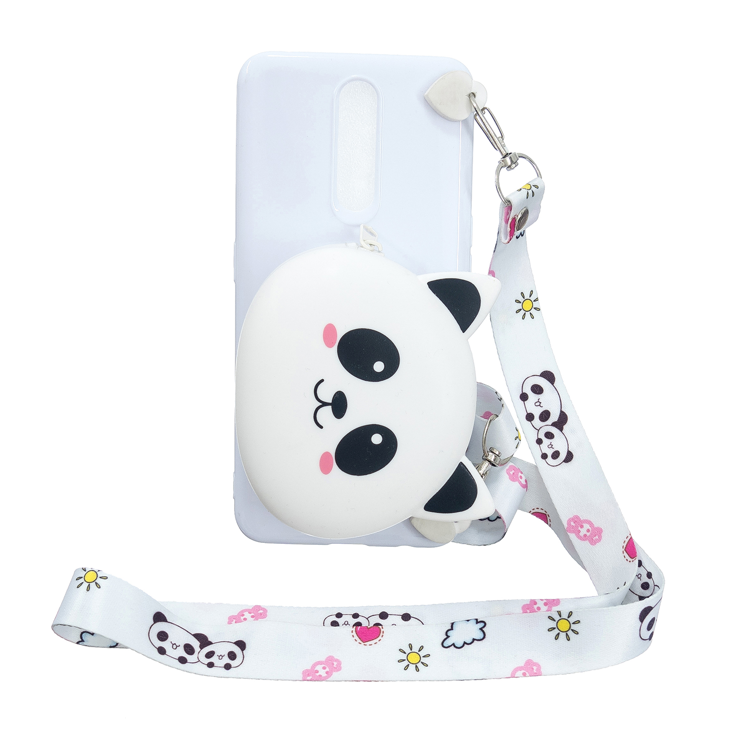 For OPPO F11/F11 Pro Cellphone Case Mobile Phone TPU Shell Shockproof Cover with Cartoon Cat Pig Panda Coin Purse Lovely Shoulder Starp  White