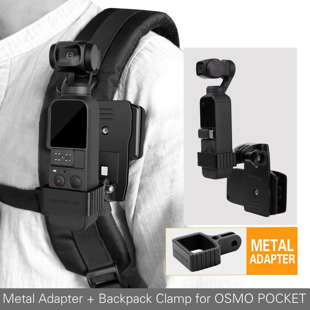 Aluminum Alloy Adapter Kit Backpack Bracket Clamp Clip Mount for DJI OSMO POCKET Gimbal GOPRO Camera black