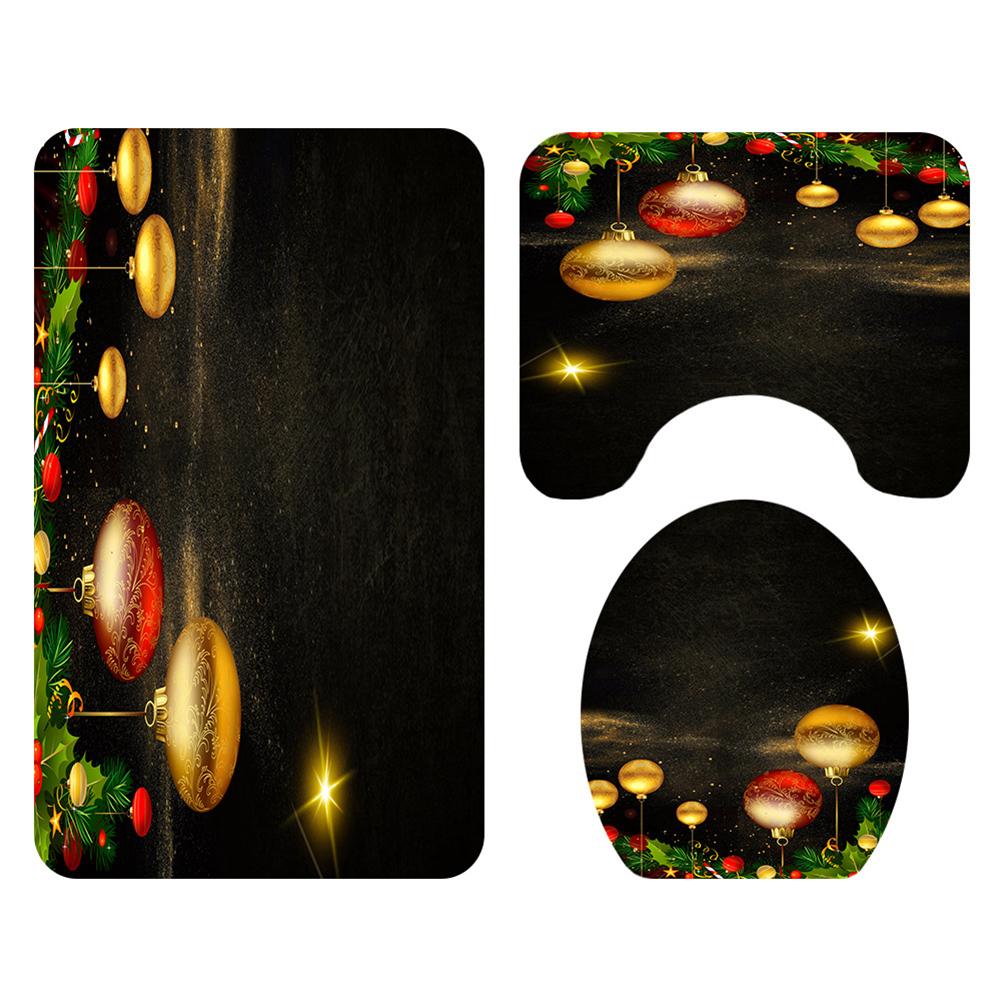Christmas Series Shower Curtain Rug Lid Toilet Cover Mat Bath Mat Set Bathroom Supplies SDS62_As shown