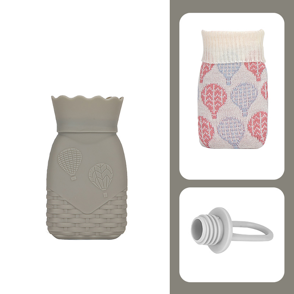 Hot Water Bottle Warm Water Bag Hand Warmers Mini Portable Explosion-Proof Baby Christmas Gift Small gray