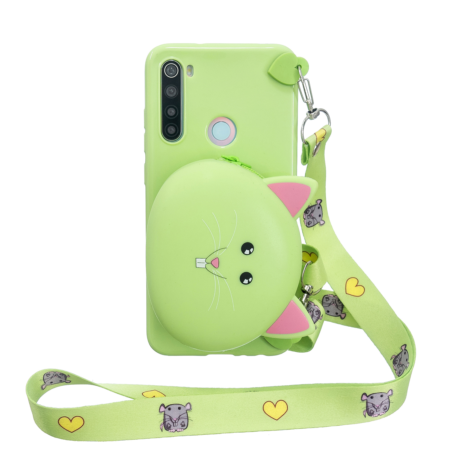 For Redmi Note 8/8T/8 Pro Cellphone Case Mobile Phone Shell Shockproof TPU Cover with Cartoon Cat Pig Panda Coin Purse Lovely Shoulder Starp  Green