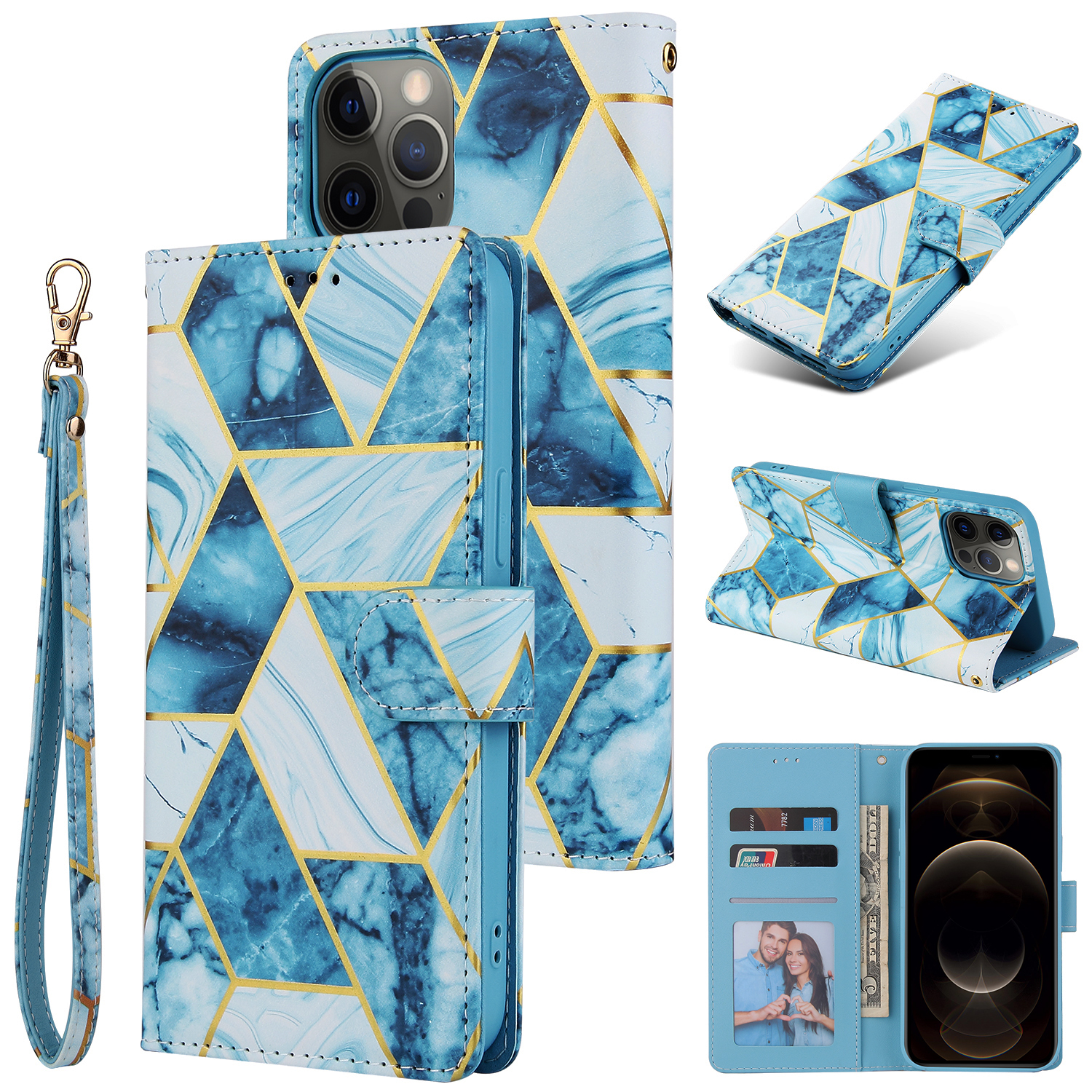 For Iphone 12 Mobile Phone Cover Matte Marble Pattern Multi-function  Flip Phone Leather Case blue