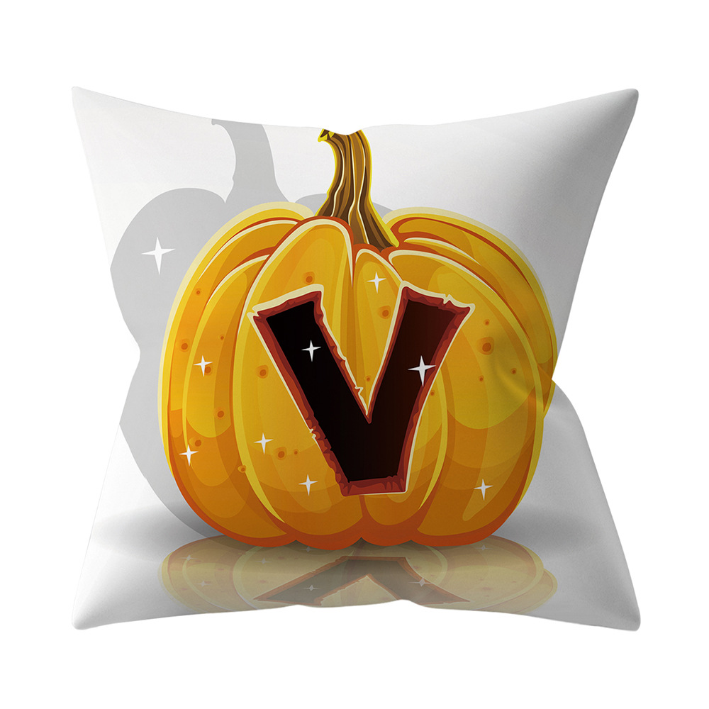 Halloween Series Letter Printing Throw Pillow Cover for Home Living Room Sofa Decor V_45*45cm
