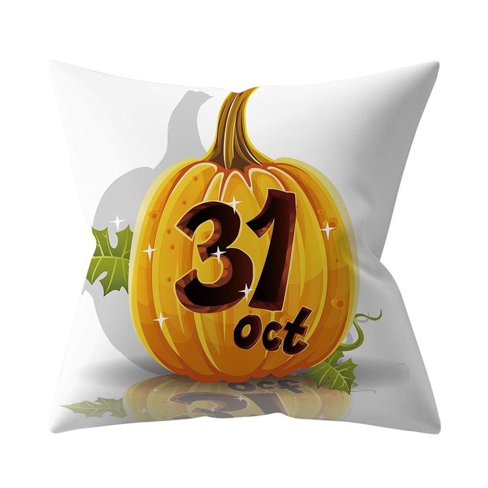 Halloween Series Letter Printing Throw Pillow Cover for Home Living Room Sofa Decor 2_45*45cm