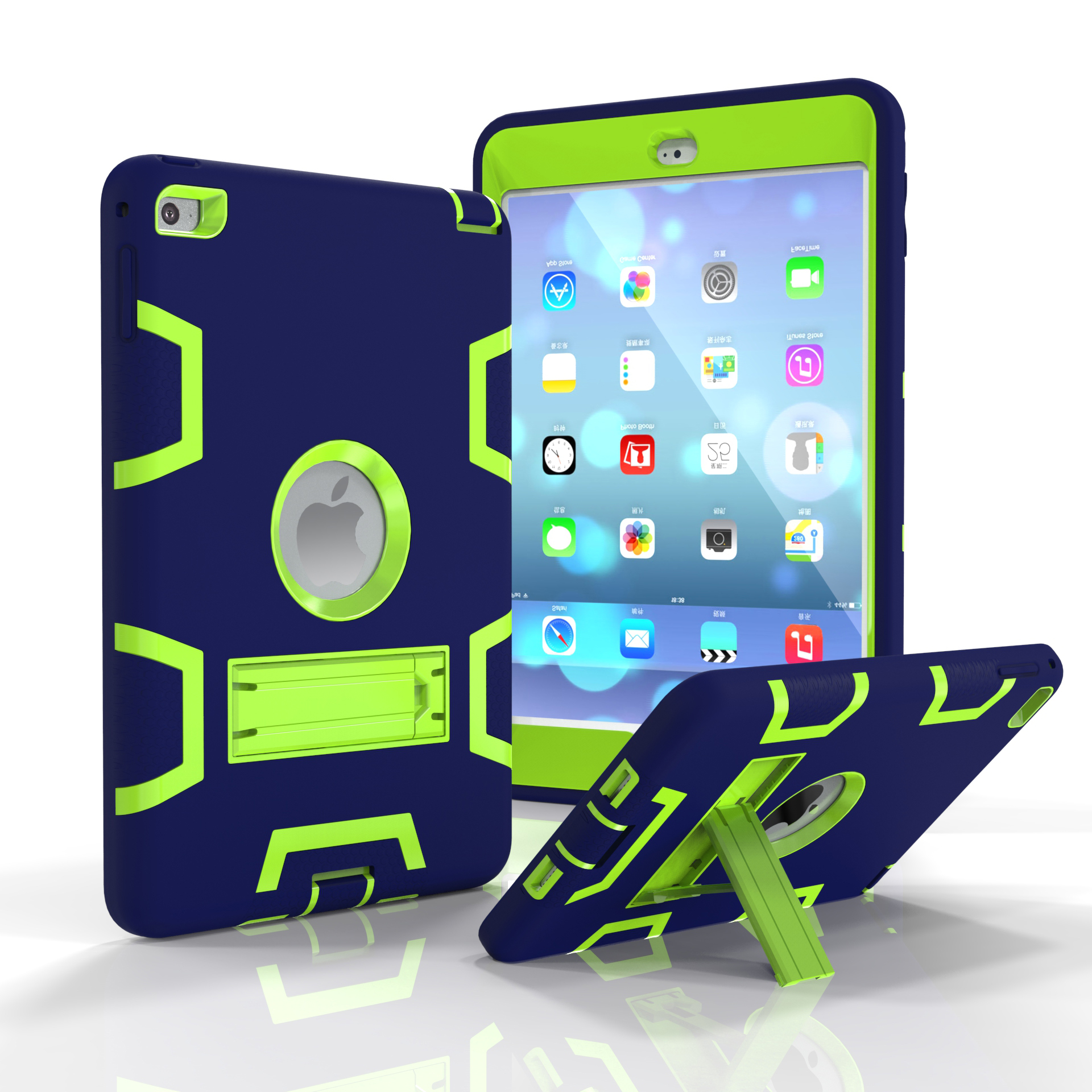 For IPAD MINI 4 PC+ Silicone Hit Color Armor Case Tri-proof Shockproof Dustproof Anti-fall Protective Cover  Navy blue + yellow green